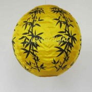 1 Lampion Bulat Motif Bambu Warna Kuning