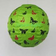 1 Lampion Bulat Motif Kupu Kupu Warna hijau