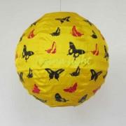 1 Lampion Bulat Motif Kupu Warna kuning